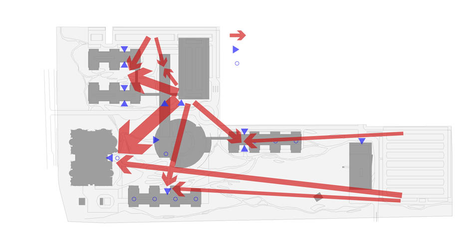 Route van auto naar werkplek